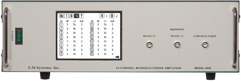 Model 3600 16-Channel Extracellular Amplifier with Headstage